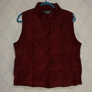 L L Bean dark red down puffer vest size M